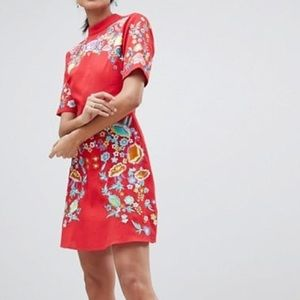 Red Floral Embroidered Dress.